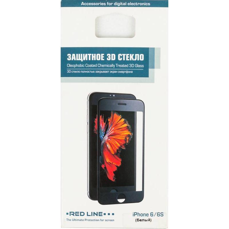 Защитное стекло для экрана Redline белый для Apple iPhone 6/6S 3D 1шт. (УТ000008165)