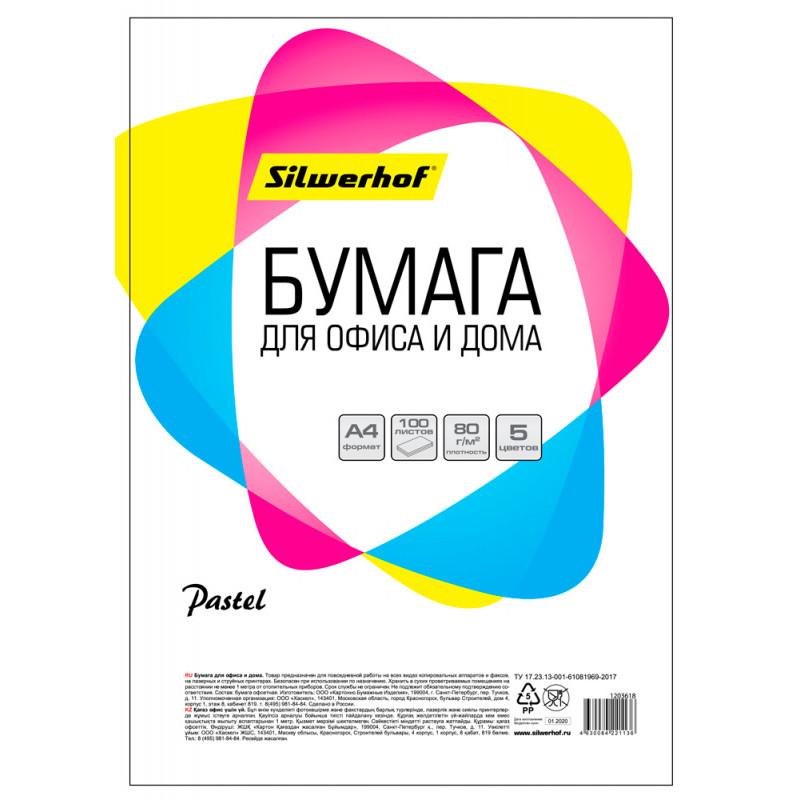 Бумага Silwerhof 719001 A4/80г/м2/100л./радуга пастель (5цветов)
