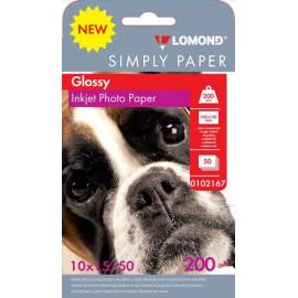 Бумага Lomond Simply 0102167 10x15/200г/м2/50л./белый CIE148% глянцевое для струйной печати