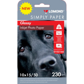Бумага Lomond Simply 0102166 10x15/230г/м2/50л./белый CIE148% глянцевое для струйной печати