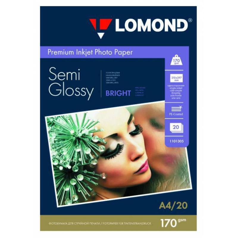 Бумага Lomond 1101305 A4/170г/м2/20л./белый полуглянцевое для струйной печати