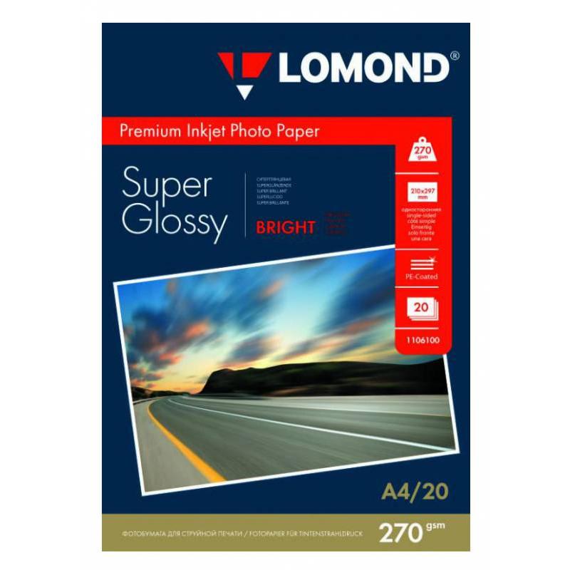 Бумага Lomond 1106100 A4/270г/м2/20л./белый высокоглянцевое для струйной печати
