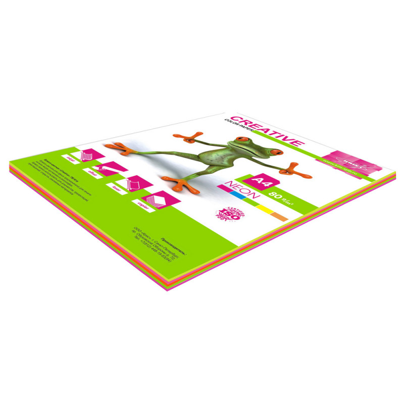 Бумага Creative БНPR-50R A4/80г/м2/50л./радуга неон (5цветов) универсальная